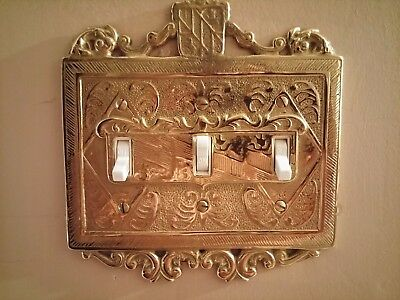 Virginia Metalcrafters Solid Brass Vintage Triple Light Switch Cover Plate