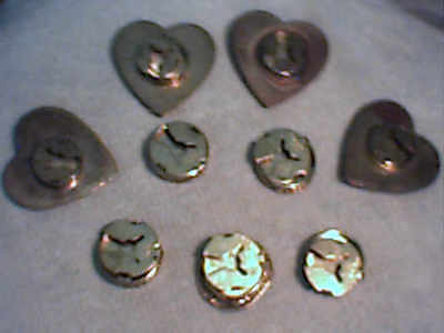 Vintage Lot 9 Brass Button Covers hearts and old coins/sailing ship