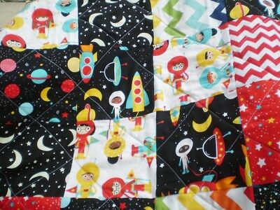 Handmade baby quilt,boy or girl bedding quilt,baby quilt,Trip to Mars