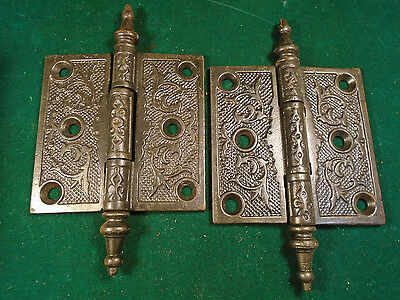 Pair Vintage Eastlake Hinges  3.5  X 3.5  Steeple Top - Beautiful  (9246-1)