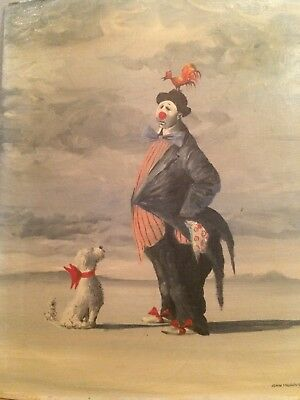The Clown With A Dog And A Rooster Signed Midcentury Orignal Oil Canvas On Board