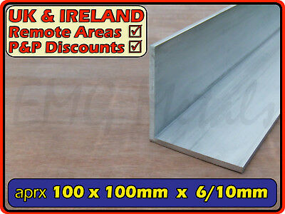 "Aluminium Angle (L section, edging, bracket)| 102mm (4"")(apx 3mm 6mm 10mm 100mm)"