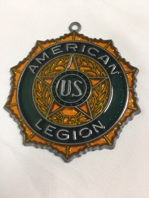 American Legion Faux Stained Glass Suncatcher Ornament Vintage NOS