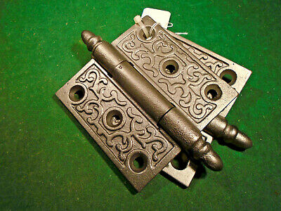 "Pair Vintage Eastlake Hinges  3 1/2""  X 3 1/2""  Acorn Tips - Beautiful (9253)"