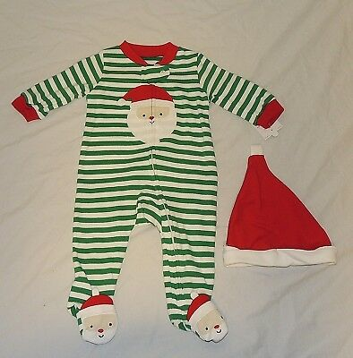 NEW CARTERS BABY First Christmas Pajamas w/Feet Santa Hat Unisex ...