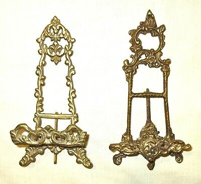 Pair of Small Vintage Solid Brass Art Nouveau Easel Picture Stand/Holders