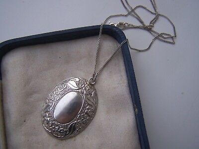 "Amazing Vintage Ornate Solid Sterling Silver Pendant 18"" Necklace Locket Style"
