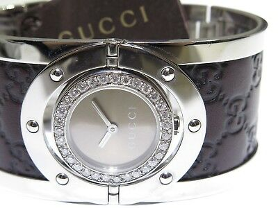 dc88440a2fc Gucci Twirl Brown Dial Stainless Steel W  Leather 1.00ct Ladies Watch  YA112433
