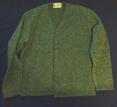 Vintage Kaso Knit Wool Cardigan Sweater Size M Green, USA, Great Buttons