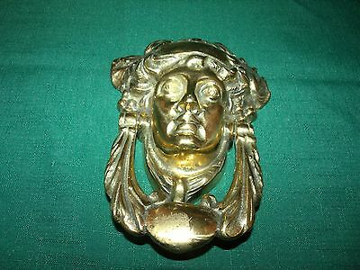 Vintage Roman Head Brass Door Knocker Heavy
