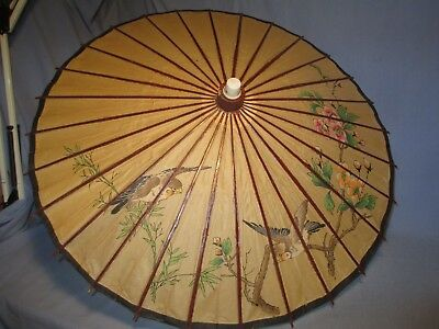 Vintage Oriental Paper & Bamboo Umbrella w/ Birds & Flower Decoration /   NR 531