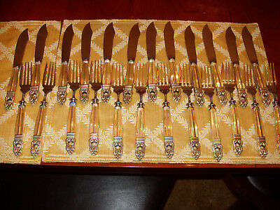 Fish set for 12 Royal Danish by International Sterling Silver  RARE  24 pieces