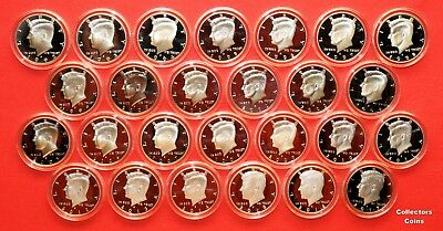 1992-2017 S Kennedy Half Set wALL 26 90% SILVER Proofs Set in Direct Fit Holders