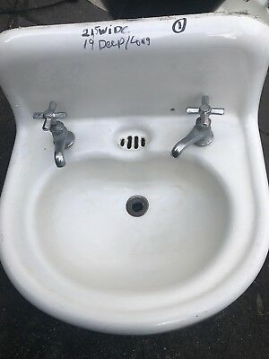 Vintage Antique White Cast Iron Porcelain Bathroom Sink with Faucets 1916-1930