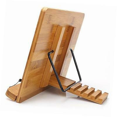 bamboo book holder,  adjustable book holder with tray and page paper clips,