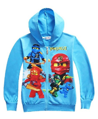 US STOCK Lego Movie Ninjago Boys Zip-Up Costume Hoodie Sweatshirt Jacket O26