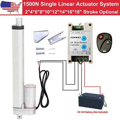 "Heavy Duty 2''-18"" 1500N 12V DC 330lbs Linear Actuator +Brackets +Controller Kit"