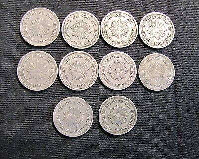 Lot of 10 Uruguay 2 Centesimos Coins
