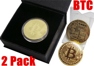 2Pack Btc 1 Oz 24K Rare Gold Plated Btc Bitcoin Commemorative Coin Collectible