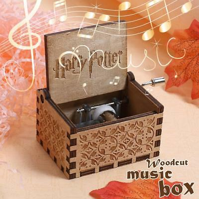 Craft Vintage Harry Potter Music Box Engraved  Wooden Toy Valentine's Day Gift