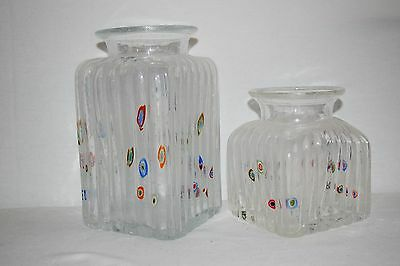 Pair of Vase Jars Canisters Hand Crafted with the Millefiori Technique