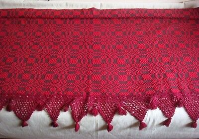 1920's Antique Early Homespun Bedspread Overshot Wool 2-Panel Raspberry Color