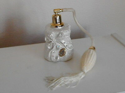 Rare Vintage Berger Perfume Bottle Atomizer Lace Look W/ Rhinestones Made Italy
