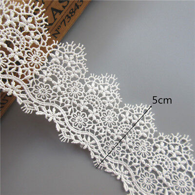 1 yard White Embroidered Lace Edge Trim Ribbon Wedding Applique DIY Sewing Craft