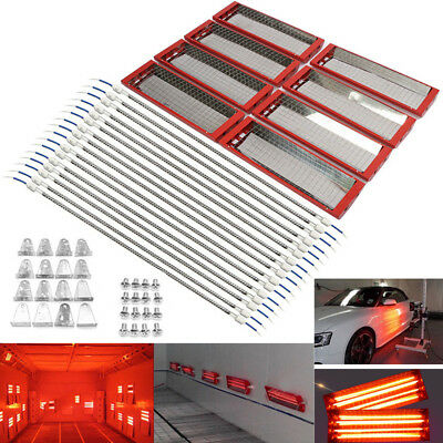 8PCS 220V Infrared Baking Lamp Wall Hung Paint Heating Light Heater Dryer 2000KW
