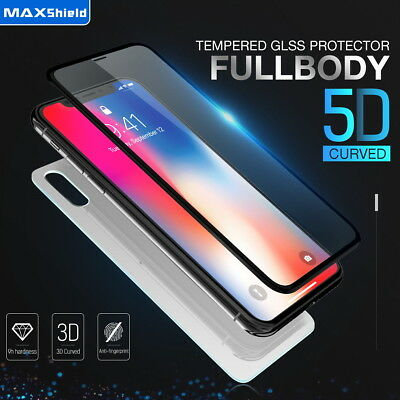 MAXSHIELD iPhone X 5D Front+Back Tempered Glass Screen Protector Cover