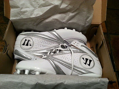 Warrior Lacrosse Second Degree 3.0 Cleats - Silver on White - WWSSM3WT - NEW