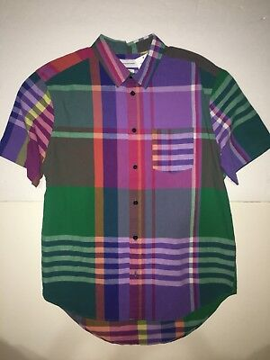 Urban Outfitters UO Multi Color Plaid Button Down Men's Pocket Shirt Medium NEW!
