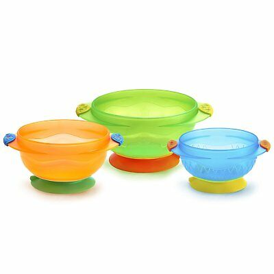 Feeding Diningware Non Spill Bases Toddler Baby Stay Put Suction Bowl 3 Count