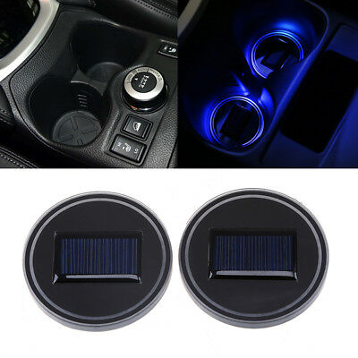 Solar LED Colorful Cup Holder Powered Car SUV Bottom Pad Mat Cover Trim Lamp