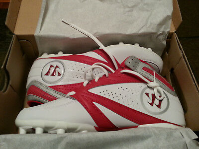 Warrior 2nd Degree Men's US Lacrosse Cleats - Red on White - WMSSM3RD - New