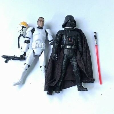 """Lot 2pcs Star Wars the CLONE TROOPERS & DARTH VADER 3.75"""" Figure Hasbro Toy Gift"""