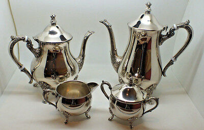 Vintage Silver Plated Tea Set tea pot/hot water milk jug & sugar bowl by M & R.