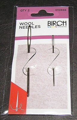 2 Wool Needles Hand Sewing Easy Large Eye Birch Knit Tapestry 13 18 Embroider