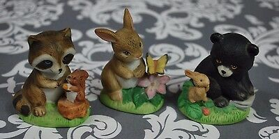HOMCO  #1418  Wild Baby Animals Set of 3  Vintage Bisque Porcelain Figures D693