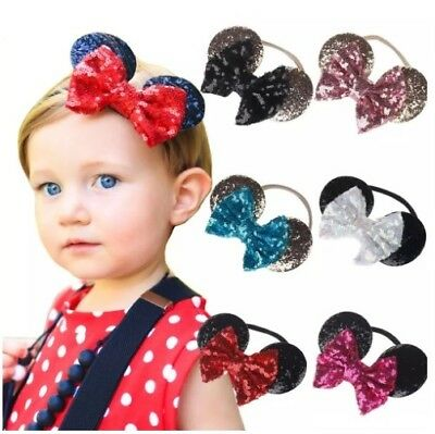 Minnie Mouse Ears Sequin Headband Baby Kid Girl Party Hair Bow Band Disneyland