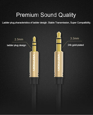 Jack 2.5mm Male To 3.5mm Male AUX Headphone Audio Cable Two-Way Converter LOT 55