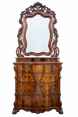 19Th Century Flame Mahogany Serpentine Chest With Mirror