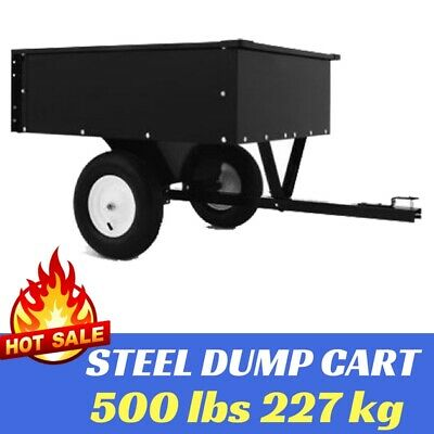 Steel Dump Cart Garden Tipping Trailer 500 lbs 227 kg Tow behind ATV Ride on