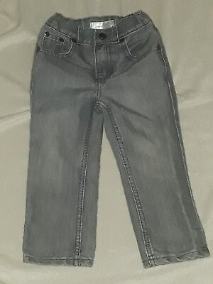 Boys Toddler Jumping Beans Jeans Denim Gray 3T Straight Leg Adjustable Waist