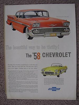 1958 Chevrolet Bel Aire & Corvette Large Full Page Color Ad Free Shipping