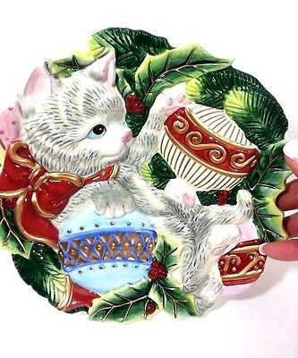 """Fitz Floyd Kristmas Kitty Canape Plate 9"""" Christmas Serving Dish NEW IN BOX🐱🎅"""