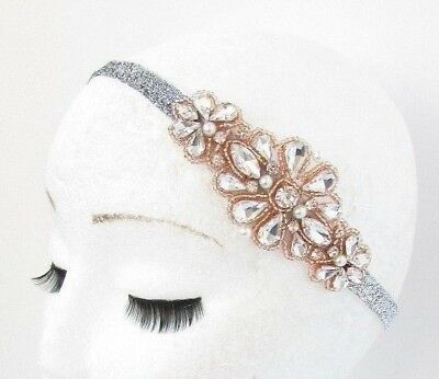 Rose Gold Silver Diamante Headband 1920s Great Gatsby Flapper Headpiece Vtg 4883