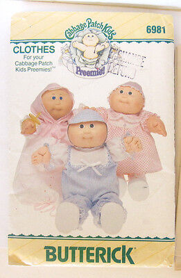 Cabbage Patch Kids sewing pattern BUTTERICK #6981 PREEMIE doll outfits