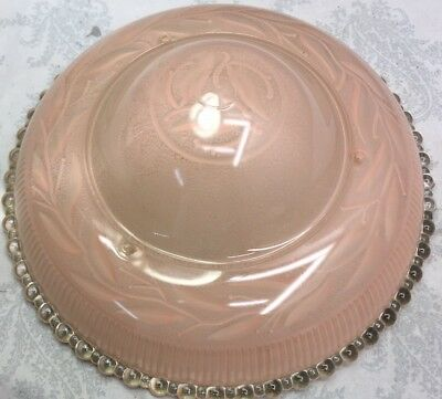 "Vtg~11""PINK FROSTED~Art Deco Ceiling Light  Fixture Glass Shade globe Chandelier"