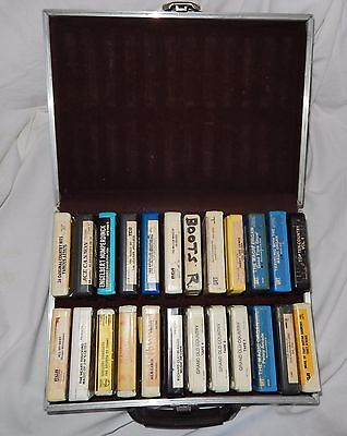 Lot Of 24 Vintage 8 Track Tapes With Dark Brown Case